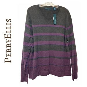Perry Ellis Grey Wool Blend Sweater